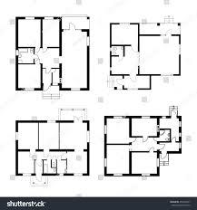 Ground Floor Plans Set Ground Floor Blueprints Vector Unfurnished Stock Vector