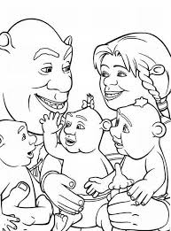 shrek and family coloring page color luna