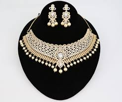 bridal jewelry necklace set images Gold plated indian bollywood ad pearl wedding cz with white stones jpg