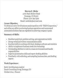 Entry Level Business Analyst Resume Objective Business Resume Sample Free U0026 Premium Templates