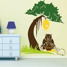wandtattoo baum bär mit honigtopf und bären baby sunnywall