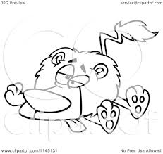 cartoon clipart of a black and white lazy or sick lion vector