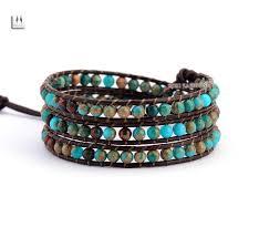 beaded bracelet leather images Natural jasper 3 layer leather bracelet wrap beaded bracelet top jpg