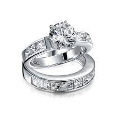 engagement rings engagement ring settings sterling silver 2ct round cz princess engagement wedding ring set