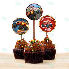 blaze monster machines cupcake toppers u2013 cartoon invites