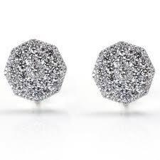 cheap diamond earrings octagon micro pave diamond earrings 3 94ct tw cheap diamond