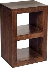 Wooden Bedside Bookcase Shelving Display Dakota Mango Wood 2 Hole Cube Shelving Unit Walnut Colour