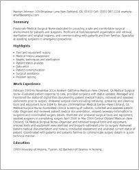nursing resume exles for medical surgical unit in a hospital nursing resume exles for medical surgical unit shalomhouse us