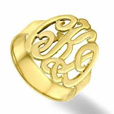 gold monogram ring script monogram ring in 10k gold 3 initials personalized rings