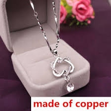 ebay necklace heart images Fashion copper silver women double love heart pendant necklace jpg