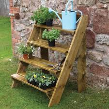 Pinterest Gardening Crafts - durable 4 step wooden stair planter new pots garden ladder wood