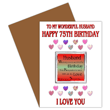 husband 75th happy birthday card with removable magnet gift 75
