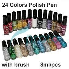 freeshipping 24 colors nail polish pen 3d nail art glitter striper
