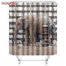 Animal Shower Curtains Wonzom Animal Shower Curtains With 12 Hooks Modern Elephant
