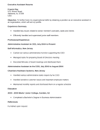 Executive Assistant Resume Templates One Page Executive Assistant Resume Template