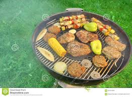 Backyard Bbq Grill by Bbq Grill With Steaks Kebabs And Vegetables Top View Stock Photo