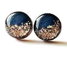 wooden stud earrings painted navy blue with gold glitter wood