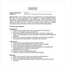 president job description bank controller job description sample
