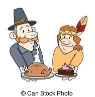 vector clip of thanksgiving characters pilgrims
