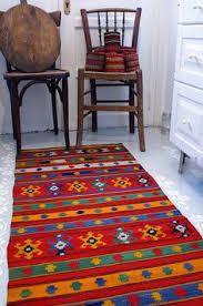 Organic Wool Rug Rag Runner Floral Pattern Motif Vintage Hand Woven Carpet Balkan