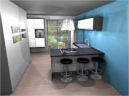 cuisine ouverte avec bar cuisine moderne blanche et bleue ciel