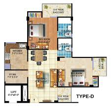 2bhk typical floor plan type d lowcosthousing online