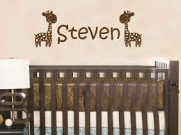 Wall Name Decals For Nursery by Wall Decal Giraffe Personalized Baby Name Children Custom