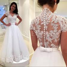 lace wedding gowns shop discount dreamy zipper button back bridal gowns cap sleeve