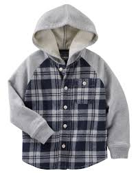 flannel french terry hooded shirt jacket toddler boys boys