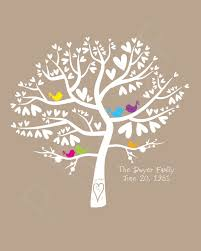 wedding birds colour pop silhouette family tree