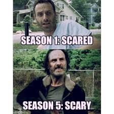 Walking Dead Memes Season 1 - twd the walking dead evolution of rick grimes scared to scary