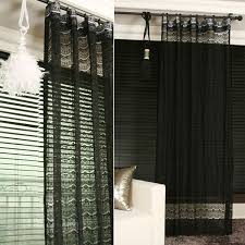 black lace sheer curtain