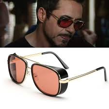 male steampunk sunglasses men tony stark iron man red sunglasses