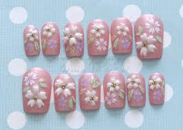 japanese 3d nails pink sakura cherry blossom kawaii