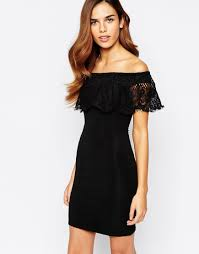 image 1 of lipsy lace off shoulder mini body conscious dress dr