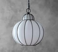 Milk Glass Pendant Light Camille Milk Glass Caged Pendant Pottery Barn