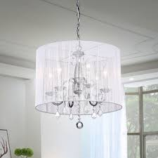 Crystal And Chrome Chandelier Chrome And Cream 6 Light Crystal Chandelier Free Shipping Today