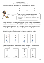 year 6 maths worksheet ordering fractions maths blog