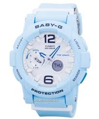 light blue g shock watch baby g shock resistant tide graph analog digital bga 180be 2b