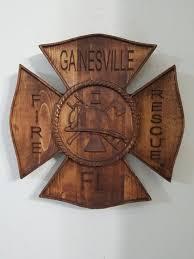wooden maltese cross dept maltese cross badge 3d v carved personalized firefi