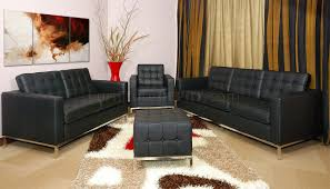 Button Tufted Sofas by Black Full Leather Button Tufted 4pc Living Room Set