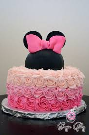 pretty pink ombre ercream minnie mouse birthday cake by sugie galz in austin texas