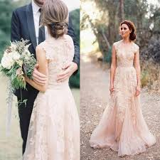 cheap vintage wedding dresses discount v cap sleeves pink lace applique tulle sheer wedding