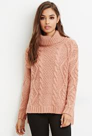turtle neck sweaters lyst forever 21 cable knit turtleneck sweater in purple
