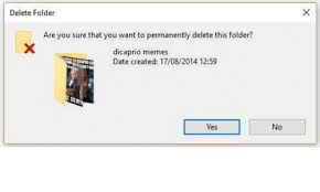 Meme Folder - delete folder are you sure that you want to permanently delete this