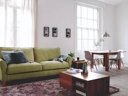 lime green sofa to bring a bright colour to a basic decorated