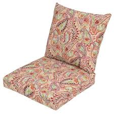 Plantation Patterns Seat Cushions by Chili Paisley 2 Piece Deep Seating Outdoor Lounge Chair Cushion