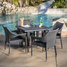 Resling Patio Chairs by Amazon Com 7 Piece Outdoor Wicker Dining Set With Stacking Wicker