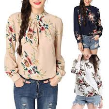 elegant women u0027s floral chiffon long sleeve high collar blouse