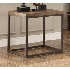 wood metal end table homelegance daria end table in metal frame with grey weathered